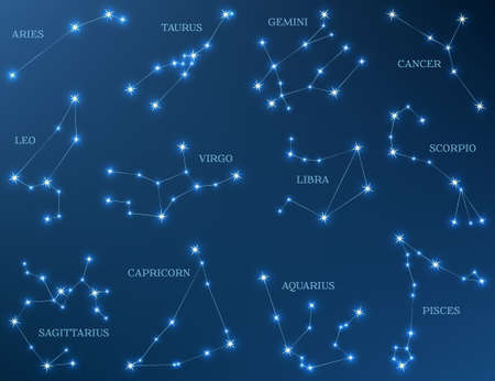 Zodiac constellations star astrology signs vector