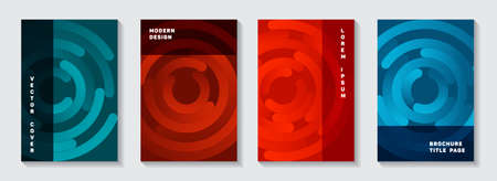 Editable publication covers collection. Graphic banner circles goemetry vector backdrops. Aim goal achievement circles concept. Modern catalog title pages design. 向量圖像