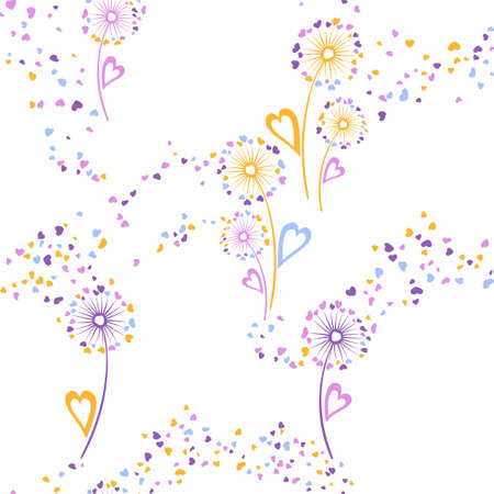 Dandelion flowers unusual vector seamless pattern. Wallpaper print design. Botanical dandelion blowing flowers isolated illustration. Heart shaped seeds. Love symbols. Valentine seamless ornament.
