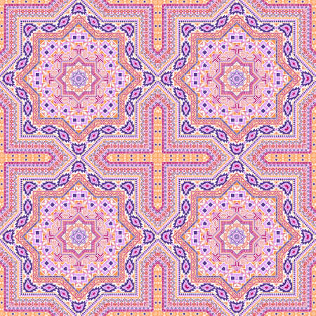 Delicate victorian majolica tile seamless pattern. Ethnic geometric vector patchwork. Clothes print design. Classic spanish mayolica tilework recurrent pattern. Line art graphic background. 向量圖像
