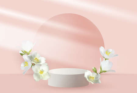 Jasmine branches vernal flower bush blossom and 3d pink scene rendering with podium. Minimal pink Easter or Mothers Day scene platform, stage scene for cosmetic product show. Mock orange jasmine.