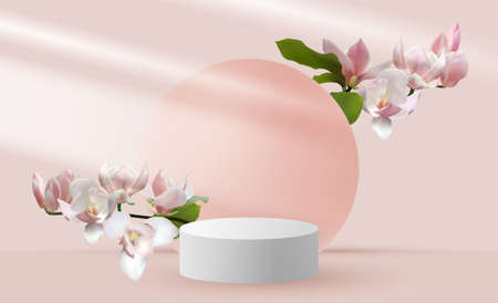 Magnolia branches vernal flower tree blossom and 3d pink scene rendering with podium. Minimal pink Mothers Day scene platform, stage scene for cosmetic product show. International Women's day card.