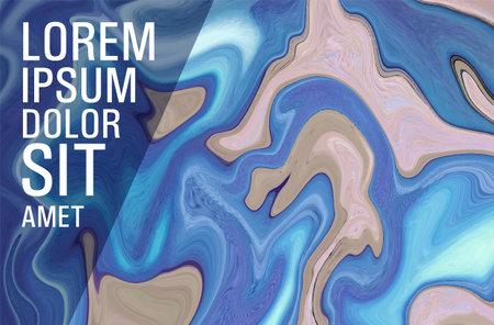 Marble fluid art texture vector background. Marbling technique fluid dye texture for your exterior design, banner, flyer, textile, business card. Grunge marble liquid background pattern.