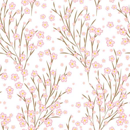 Japanese cherry blossom sakura branches vector seamless pattern. Linen fabric, wallpaper vector background. Pink cherry flowers textile print, spring tree blossom fabric, branches with flowers.