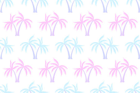 Simple coconut tropical palm tree seamless pattern summer holiday vector wallpaper. Exotic leaves tropical silhouettes background. Thailand nature palm tree seamless rapport. Swimwear print.