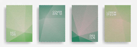 Hexagonal halftone pattern cover pages vector graphic design. Hexagon lines texture patterns. Party invitation flyer templates set. Cover page layouts, posters, banners with halfton lines.