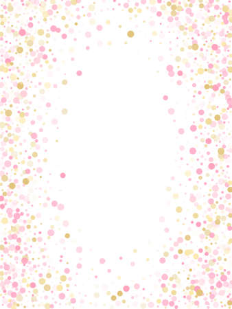 Rose gold confetti circle decoration for Christmas card background. Holiday vector decor. Gold, pink and rose color round confetti dots, circles chaotic scatter. Trendy rich bokeh background. 向量圖像