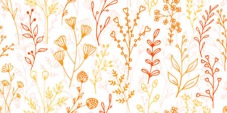 Field flower sprigs hand drawn vector seamless background. Gentle floral graphic design. Wild plants leaves and stems wallpaper. Field flower twigs isolated repeating design