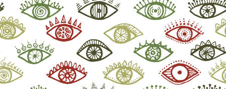 Doodle open eyes modern seamless ornament. Sketch drawing style illustration. Fashion packaging vector design. Doodle eyes with girly eyelashes cartoon endless pattern.