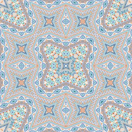 Scandinavian endless ornament graphic design. Arabesque geometric texture. Rug print in ethnic style. Mosaic motifs in arabian style. 向量圖像