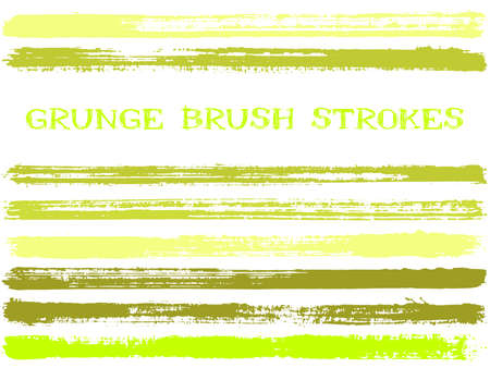 ink brush strokes isolated design elements. Set of paint lines. Dirty stripes, textured paintbrush stroke shapes. Collection of ink brushes, stripes isolated on white, vector paint samples. 向量圖像