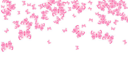Romantic pink butterflies flying vector illustration. Spring beautiful moths. Wild butterflies flying fantasy wallpaper. Gentle wings insects patten. Fragile beings.