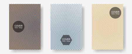 Geometric design templates for banners, covers. Vibrant tech mockups. Halftone lines annual report templates. Hipster placards. Halftone brochure lines geometric design set.