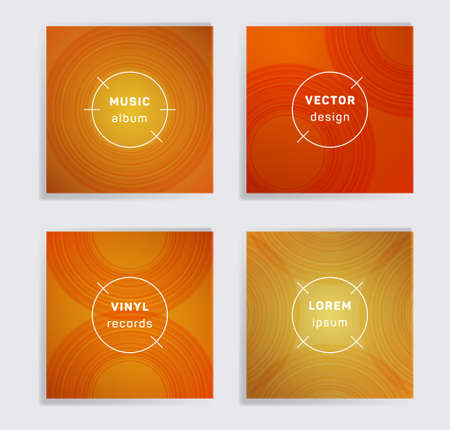 Abstract vinyl records music album covers set. Semicircle curve lines patterns. Flat creative vinyl music album covers, disc mockups. DJ records disc vector mockups. Banners flyers cards set. 向量圖像