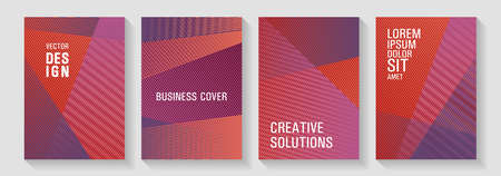 Geometric flyer background vector templates. Trendy stationery folder backgrounds. Fashionable branding covers design set. Scientific journals concept. Advertising publication backdrops. 向量圖像