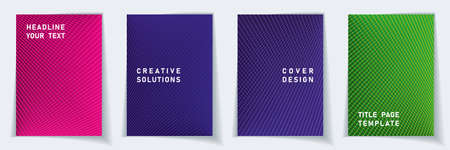 Cover page tech layout vector design set. Halftone lines grid background patterns. Catalog templates. Business gradient title page graphic collectoin.