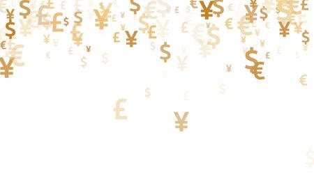 Euro dollar pound yen gold icons scatter money vector illustration. Finance concept. Currency symbols british, japanese, european, american money exchange signs graphic design. 向量圖像
