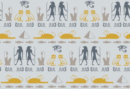 Ancient egyptian hieroglyphics alphabet elements seamless pattern. Sphinx, eye. snake, hand, Ramses, bird, Cleopatra manuscript icons. Egyptian hieroglyphics culture signs vector design.