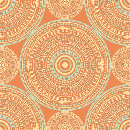 Gypsy vintage motifs seamless pattern. Circle medallion mandala geometric tiles. Textile print template. Fashion or interior pattern. Classic circular seamless ornament. Cute mandala design.