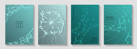Electromagnetic field concept abstract vector covers. Dynamic curve lines grid backdrops. Colorful cover vector templates. Science fiction cover pages graphic design set.