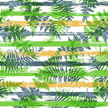 Elegant new zealand fern frond and bracken grass over painted stripes seamless pattern design. Madagascar forest foliage clothing fabric print. Floral tropical leaves seamless design.