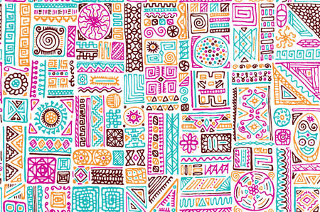 Tribal african vector seamless ornament. Apparel fabric print design. Freehand geometric ethnic tribal gypsy swatch. Creative doodle patchwork. Bohemian style pattern. 向量圖像