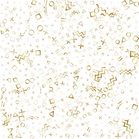 Memphis style gold geometric confetti vector background with triangle, circle, square shapes, zigzag and wavy line ribbons. Hipster 90s style bauhaus gold tinsel confetti falling on white.