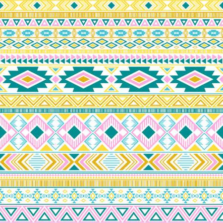 Aztec american indian pattern tribal ethnic motifs geometric vector background. Graphic native american tribal motifs textile print ethnic traditional design. Aztec symbol fabric print. 向量圖像