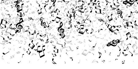 Music notes cartoon vector illustration. Sound composition elements burst. Festival music wallpaper. Creative notes cartoon elements with sharp. Party flyer graphic design.