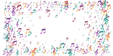 Music notes flying vector pattern. Audio recording signs burst. Party music concept. Vintage notes flying signs with bass clef. Birthday card background. 向量圖像