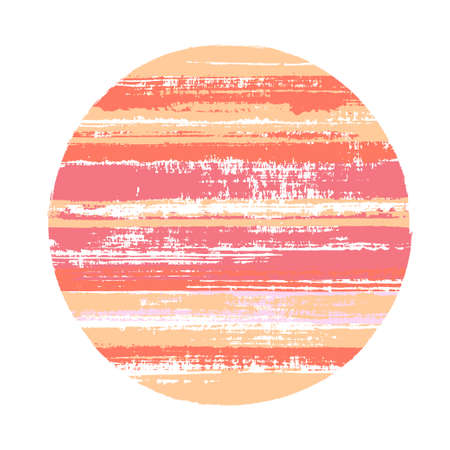 Rough circle vector geometric shape with stripes texture of ink horizontal lines. Planet concept with old paint texture. Emblem round shape circle logo element with grunge stripes background.