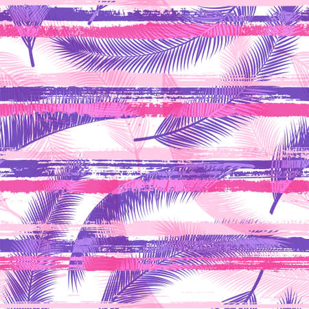 Cool coconut palm leaves tree branches over painted stripes seamless pattern design. Indonesian exotic foliage beach fashion fabric print. Tropical leaves and stripes seamless.