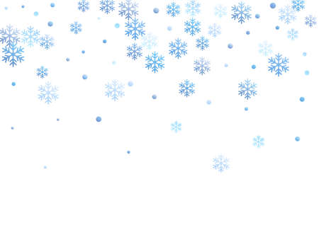 Winter snowflakes and circles border vector design. Unusual gradient snow flakes isolated card background. New Year card border pattern template with flying snowflake elements isolated.