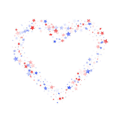 American Independence Day stars background. Confetti in US flag colors for Independence Day. Trendy red blue white stars on white American patriotic vector. July 4th holiday stardust.