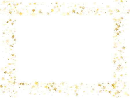 Magic gold sparkle texture vector star background. Vintage gold falling magic stars on white background sparkle pattern graphic design. Birthday tinsels scatter flying pattern.