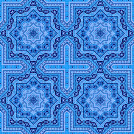 Retro italian maiolica tile seamless pattern. Ethnic geometric vector elements. Pottery print design. Stylized italian mayolica tilework infinite pattern. Floor decor graphic design. 向量圖像