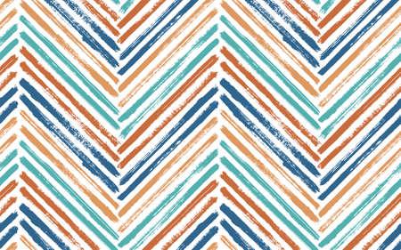 Scribble chevron fashion print vector seamless pattern. Paintbrush strokes geometric stripes. Hand drawn paint texture zig zag chevron ornament. Watercolor fabric print seamless design.