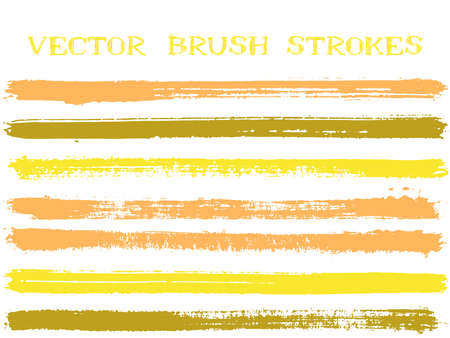 Futuristic ink brush strokes isolated design elements. Set of paint lines. Distressed Ink brushe stripes isolated on white, vector color palette samples.