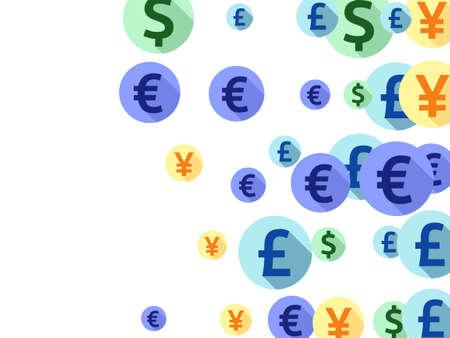 Euro dollar pound yen round symbols scatter money vector illustration. Payment backdrop. Currency pictograms british, japanese, european, american money exchange elements graphic design.