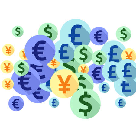 Euro dollar pound yen round icons flying currency vector design. Jackpot backdrop. Currency icons british, japanese, european, american money exchange signs wallpaper.