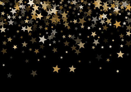 Magic gold vector star background. Gold falling sparkle pattern on black. Christmas, New Year, Birthday party festive holiday gold flying and falling stars magical background, metallic glitter design. Vetores