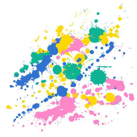 Ink stains grunge background vector. Vintage ink splatter, spray blots, dirt spot elements, wall graffiti. Watercolor paint splashes pattern, smear liquid splats stains background. Vettoriali
