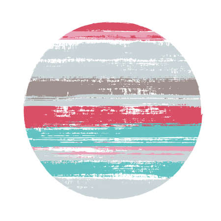 Abstract circle vector geometric shape with stripes texture of ink horizontal lines. Planet concept with old paint texture. Stamp round shape logotype circle with grunge stripes background.
