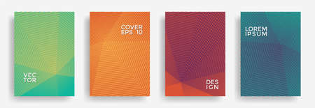 Hexagonal halftone pattern cover pages vector abstract design. Hexagon lines texture patterns. Annual report templates set. Cover page layouts, posters, banners with stripes texture.