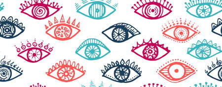 Doodle female eyes colorful endless pattern. Sketch drawing style illustration. Makeup packaging vector design. Isolated eyes with girly eyelashes psychedelic repeatable ornament. Иллюстрация