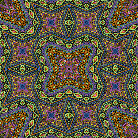 Scandinavian seamless pattern vector design. Damask geometric texture. Scarf print in ethnic style. Geometric motifs in spanish style. Иллюстрация