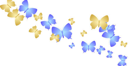 Exotic bright butterflies abstract vector wallpaper. Spring little moths. Fancy butterflies abstract dreamy illustration. Gentle wings insects graphic design. Fragile beings. Иллюстрация