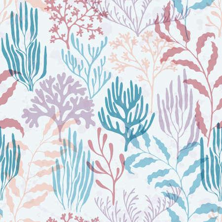 Ocean corals seamless pattern. Kelp laminaria seaweed algae background. Caribbean staghorn and pillar corals diversity. Organic botanical pattern. Aquarium water plants summer vector design. Иллюстрация