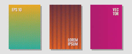 Brochure covers, posters, banners vector templates. Business folders branding. Zigzag halftone lines wave stripes backdrops. Minimalist geometry. Geometric graphic design for booklet brochure covers.