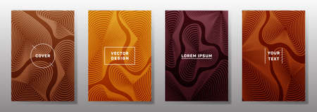 Minimalist cover templates set. Fluid curve shapes geometric lines patterns. Geometric backgrounds for notepads, notice paper covers. Line shapes patterns, header elements. Cover page layouts set.